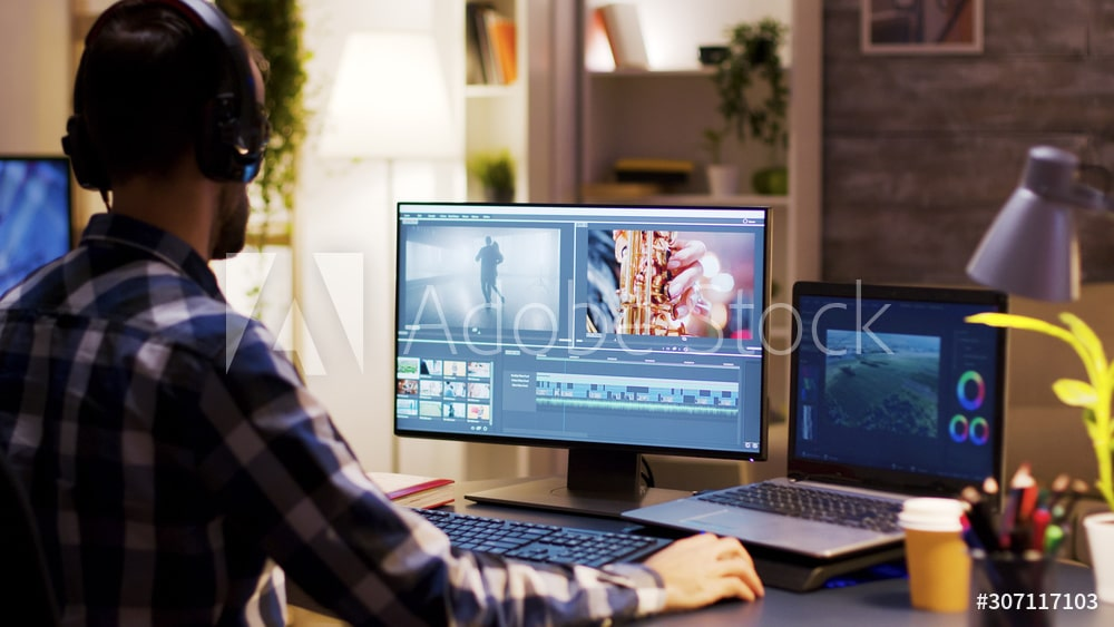 Film maker pointing at the monitor in home office