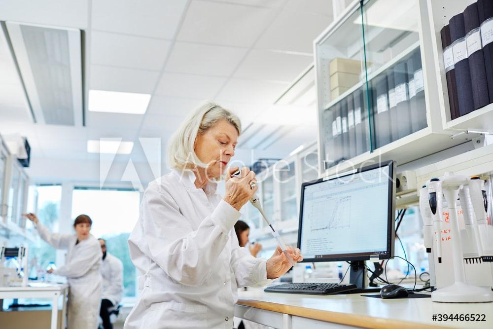 Woman working in laboratory, Sweden