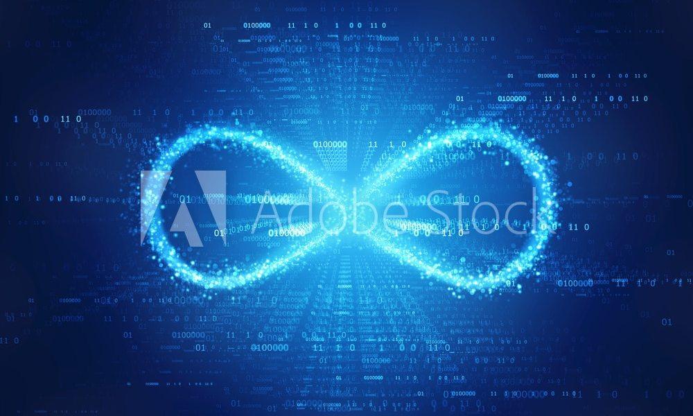 Infinity symbol in binary digital background