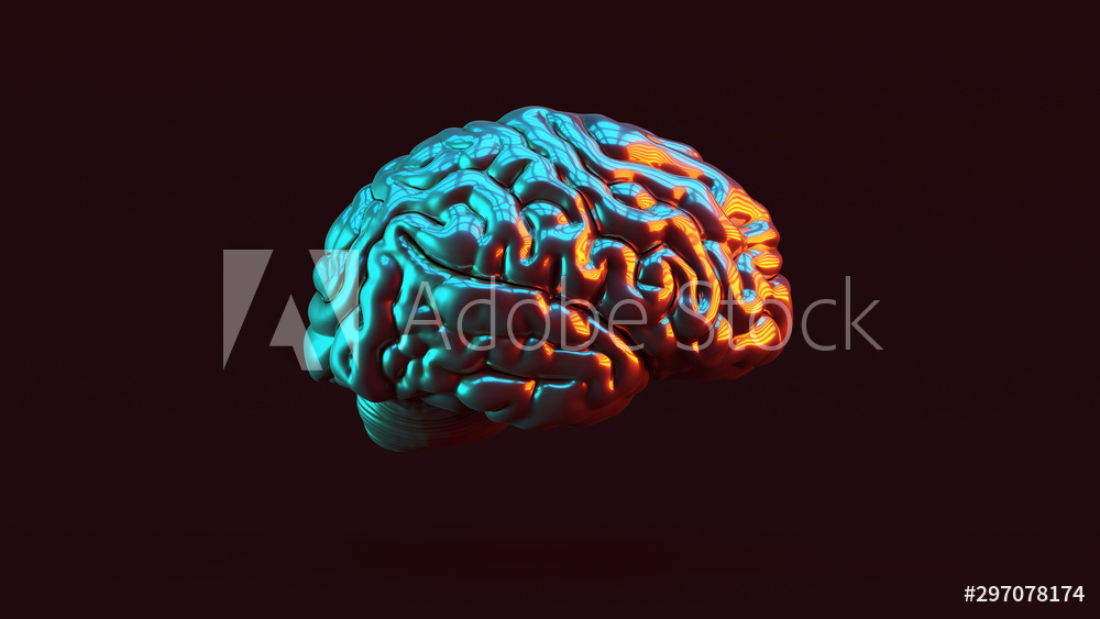 Silver Human brain Anatomical with Red Orange and Blue Green Moody 80s lighting Right View 3d illustration 3d render