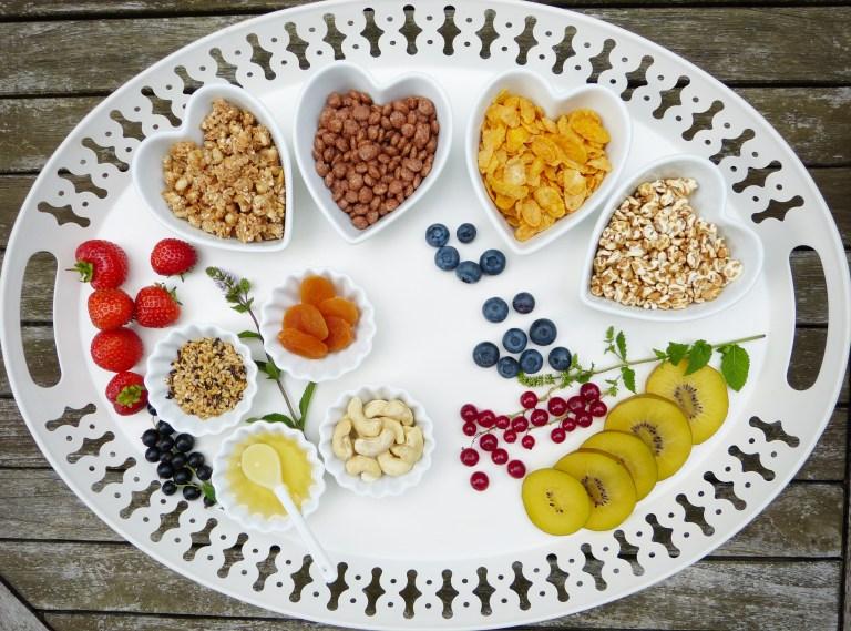 tray, breakfast, muesli