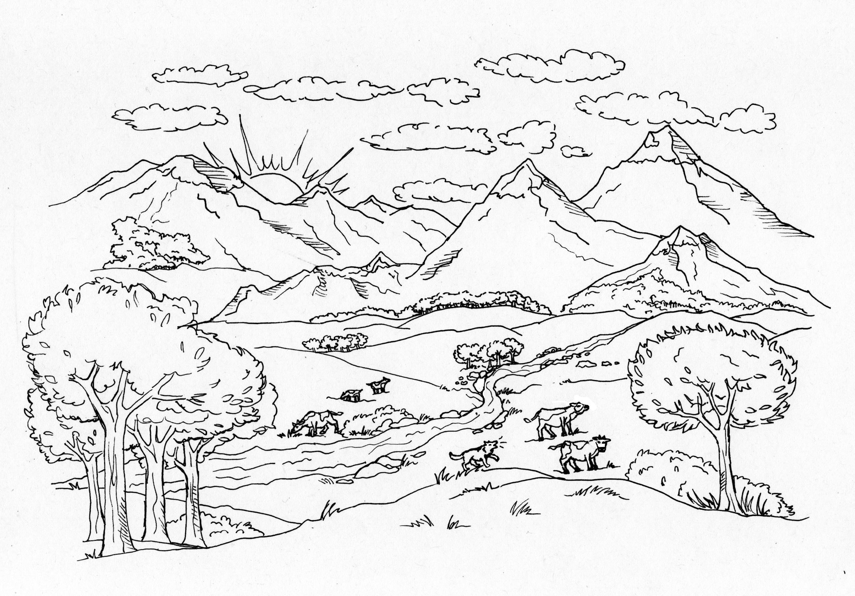 paesaggio di montagna  Disegno Libero