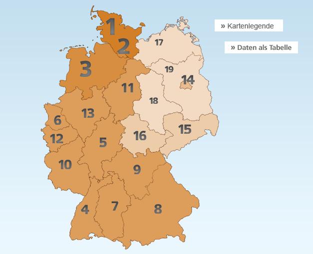 Regioni Germania Cartina.Quali Sono Le Aree Piu Felici Della Germania Una Mappa Lo Rivela Il Mitte