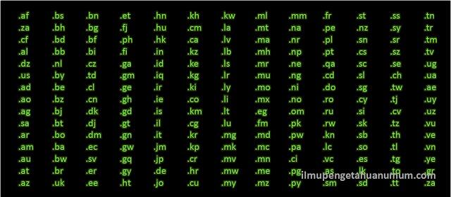 Daftar Nama Domain Negara di Dunia