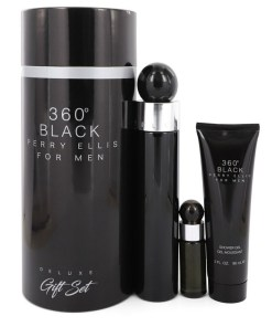 Perry Ellis 360 Black by Perry Ellis - Gjafasett - 3.4 oz Eau De Toilette Spray + .25 oz Mini EDT Travel Spray + 3 oz Shower Gel f. herra