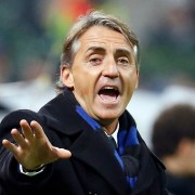 Inter Milan's coach Roberto Mancini gestures during their Italian Serie A soccer match against AC Milan at the San Siro stadium in Milan November 23, 2014. REUTERS/Alessandro Garofalo (ITALY - Tags: SPORT SOCCER)