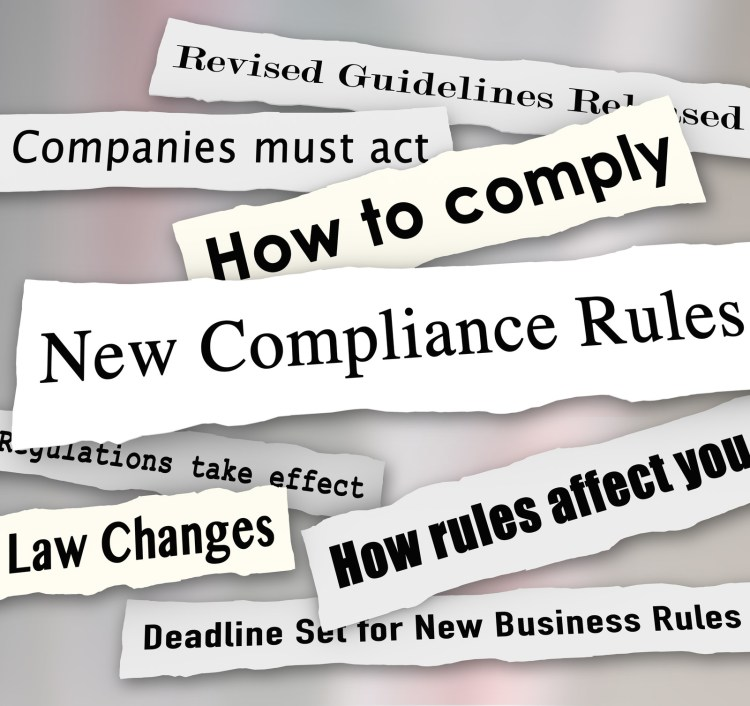 Strips of paper reading How to comply, New compliance rules, How rules affect you,