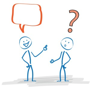 "Stickmen with speech bubble and question mark on the white background.  <!-- HTML Credit Code for Can Stock Photo --> <a href=""https://www.canstockphoto.com"">(c) Can Stock Photo / limbi007</a>"
