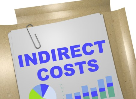 """A page that says """"indirect costs"""" with a graph and folders<!-- HTML Credit Code for Can Stock Photo --> <a href=""""https://www.canstockphoto.com"""">(c) Can Stock Photo / Medclips</a>"""