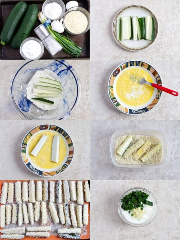Step by step instructions how to make baked zucchini fries.