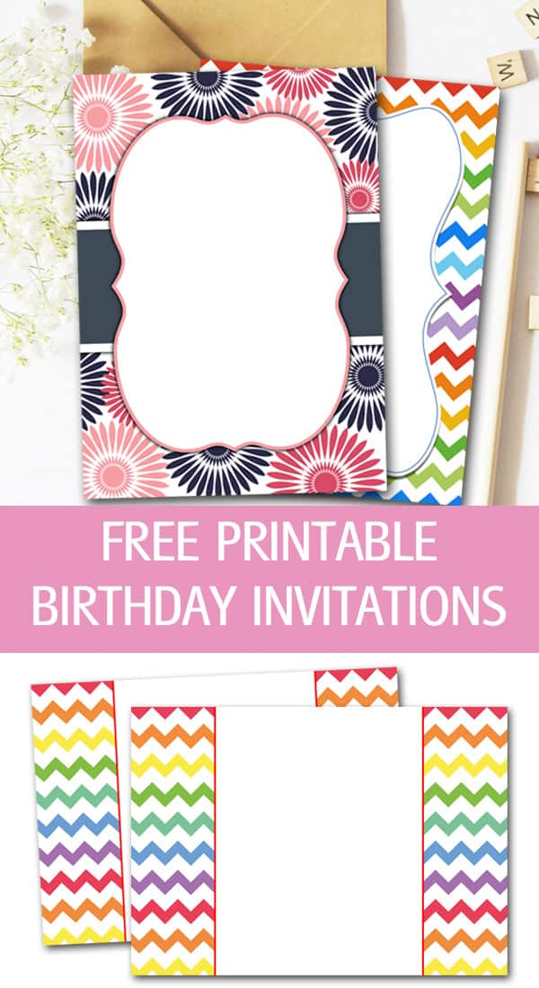 Chevron, rainbow and flower printable birthday invitations for free.