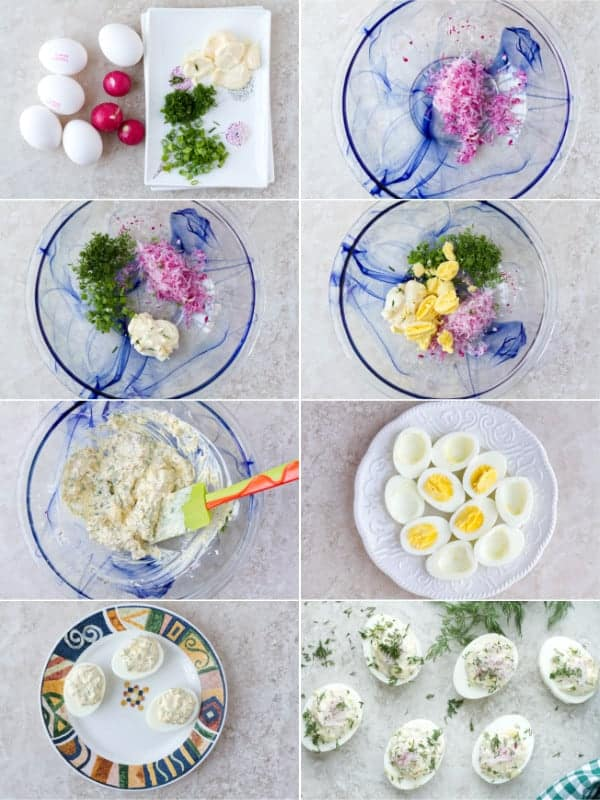Step by step on how to make a perfect hard boiled eggs. Made with fresh products like red radishes. This breakfast idea is mixed with mayo by ilonaspassion.com I @ilonaspassion