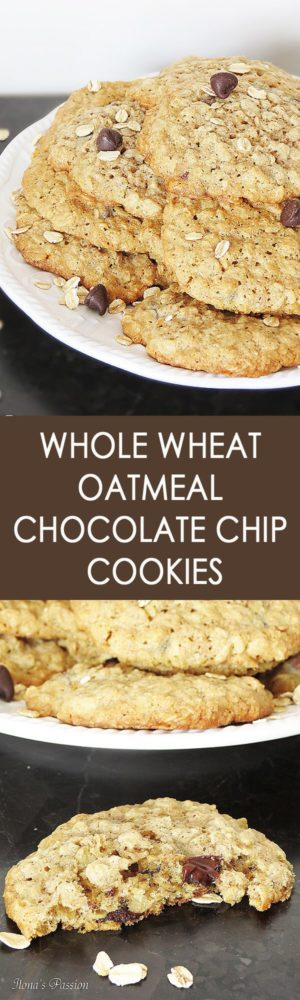 Whole Wheat Oatmeal Chocolate Chip Cookies - Soft, buttery, chewy and delicious whole wheat oatmeal chocolate chip cookies are perfect for snacking, lunch or breakfast! by ilonaspassion.com I @ilonaspassion