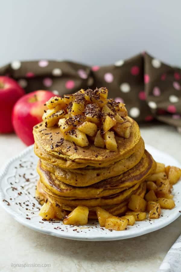 Pancakes with diced cooked apples.