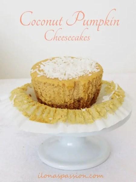 Coconut Pumpkin Cheesecakes by ilonaspassion.com