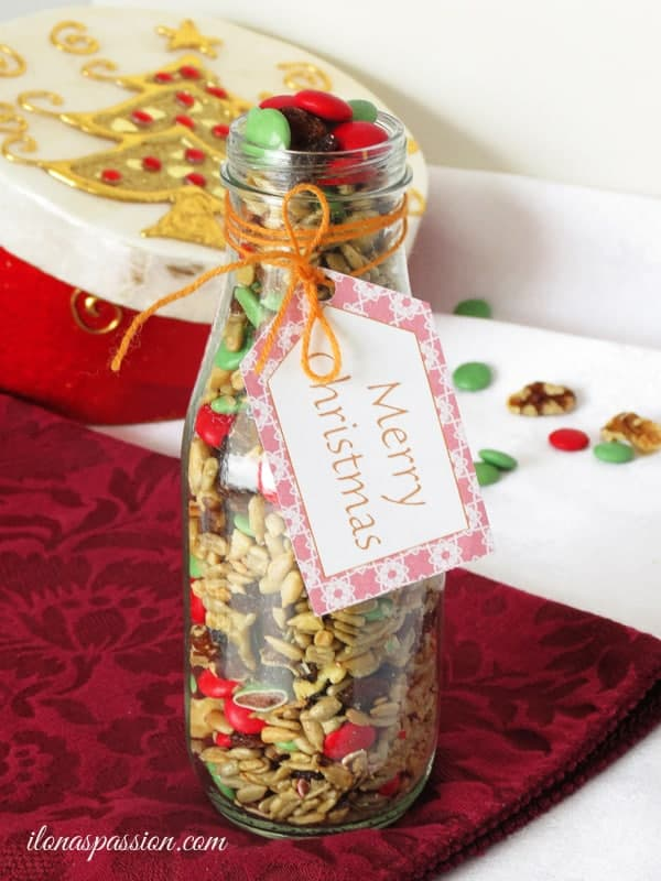 Gift Idea: Trail Mix Recipe + Free Printable Christmas Tags by ilonaspassion.com