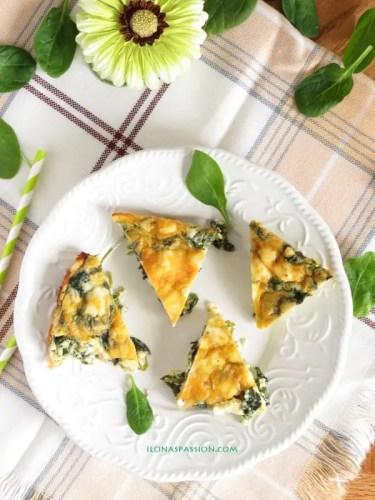 Healthy Feta Spinach Quiche by ilonaspassion.com
