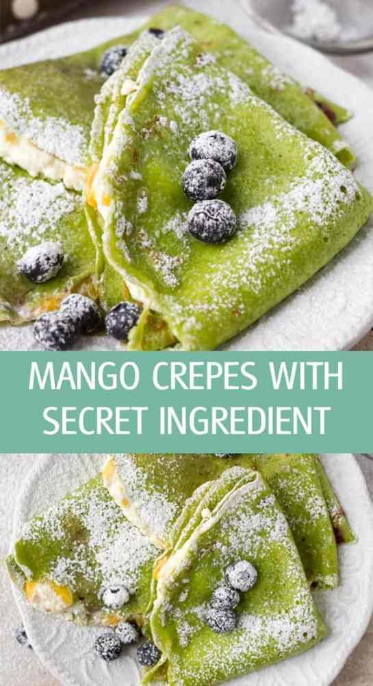 Sweet dessert farmer's cheese mango french crepes colored with fresh spinach. Great for St. Patrick's Day by ilonaspassion.com I @ilonaspassion