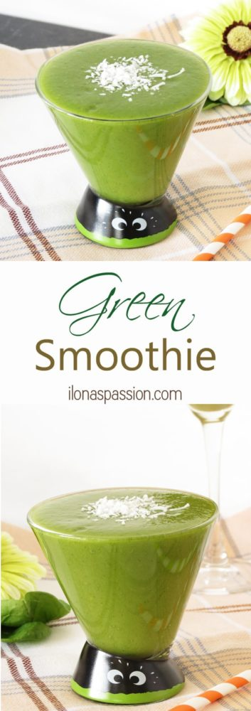 Green Smoothie - The BEST Green Smoothie recipe with fruits: banana, mango and cantaloupe Yummy for breakfast or snack by ilonaspassion.com I @ilonaspassion