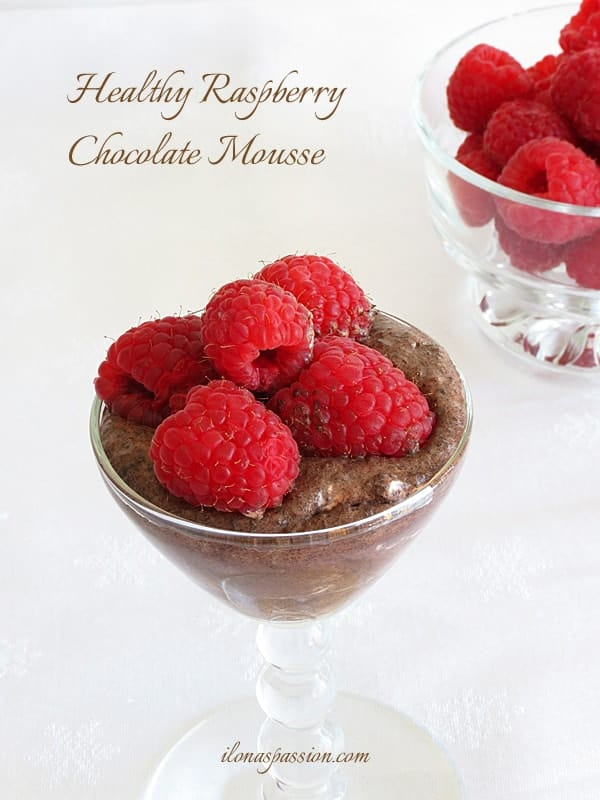Healthy, no refined sugar chocolate mousse topped with raspberries by ilonaspassion.com