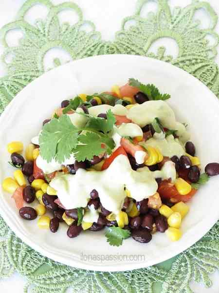 Mexican Salad with Avocado Dressing by ilonaspassion.com