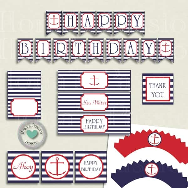 Nautical Birthday Party Printables Ilonas Passion