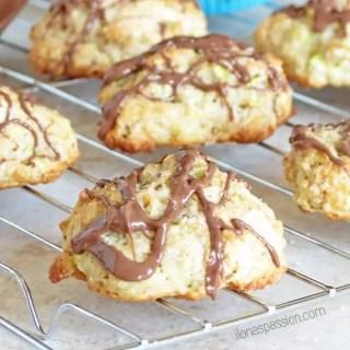 Sweet Zucchini Bites drizzled with Chocolate by ilonaspassion.com #zucchini #cookies #bites #zucchinibites