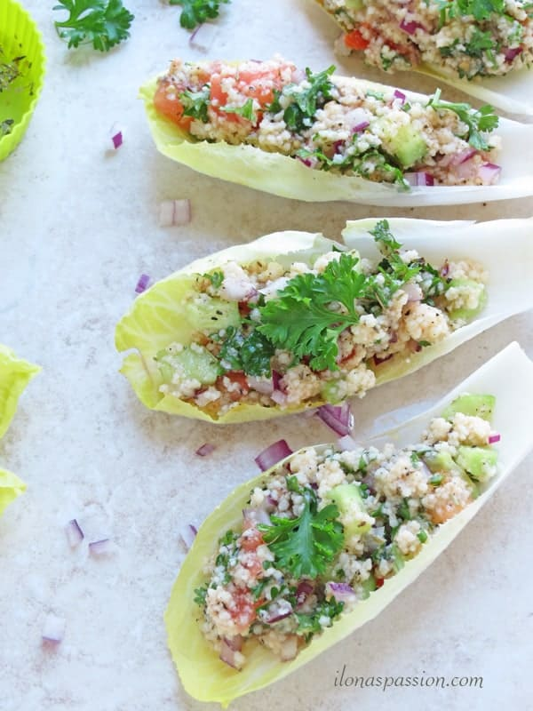 Mediterranean Couscous Salad in Endive Leaves by ilonaspassion.com #Mediterranean #couscous #salad #endive