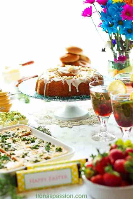 Easter Brunch Menu Ideas - Easter Brunch Menu Ideas with recipes: Almond Bundt cake, Deviled Eggs, Cherry Mint Lemonade, savory appetizers and Easter party decoration ideas by ilonaspassion.com I @ilonaspassion