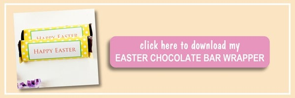 """Free Printable Easter Chocolate Bar Wrapper - get your Free Printable Easter chocolate bar wrapper in yellow color and polka dot design """"Happy Easter"""". Perfect gift idea for Easter. Download today! by ilonaspassion.com I @ilonaspassion"""