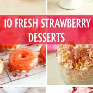 10 fresh strawberry desserts. Recipes for strawberry smoothie, ice cream cake, strawberry jam, donuts and cupcakes made with fresh seasonal strawberries! by ilonaspassion.com I @ilonaspassion