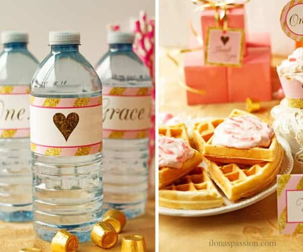 Homemade waffles with strawberry cream cheese and water bottles with pink and gold printable label as 1st birthday theme.