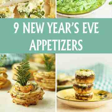 9 New Year's Eve Appetizers including all recipes for stuffed mushrooms, arancini, artichoke spinach flatbread, pinwheels, potato stacks and more! Yummy! by ilonaspassion.com I @ilonaspassion