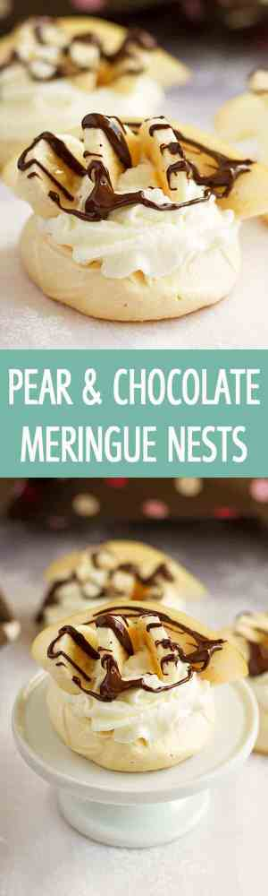 Impress your guests at your party with these soft, crunchy and mouthwatering pear and chocolate meringue nests recipe. Everyone will love them! by ilonaspassion.com I @ilonaspassion
