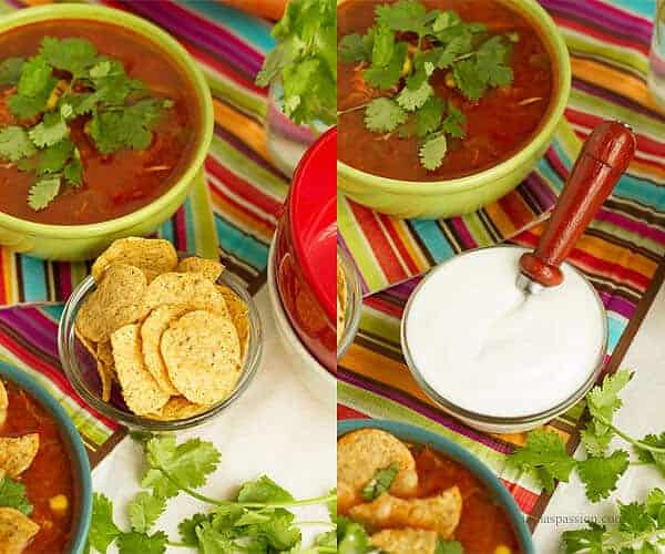 The best toppings for chicken taco soup are sour cream, tortilla chips and cilantro.