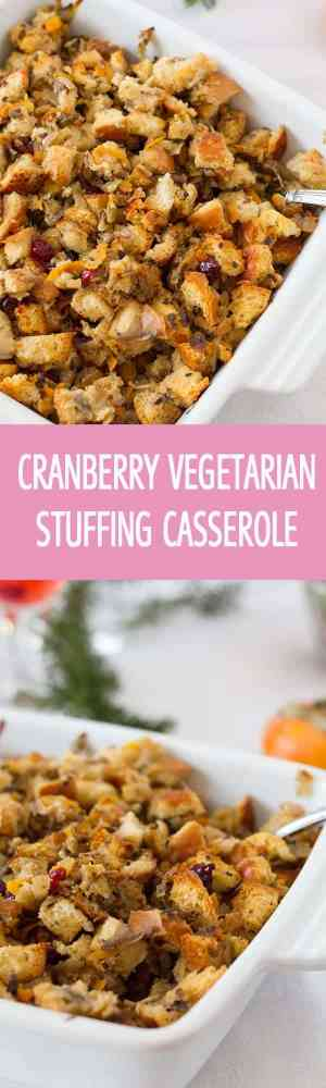 Made in the oven from scratch baked vegetarian stuffing recipe with onions and carrots. Cranberry stuffing casserole will be perfect for Thanksgiving or Christmas by ilonaspassion.com I @ilonaspassion