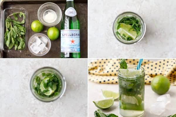Step by step how to make non alcoholic mojito recipe with 4 ingredients in 5 minutes by ilonaspassion.com I @ilonaspassion