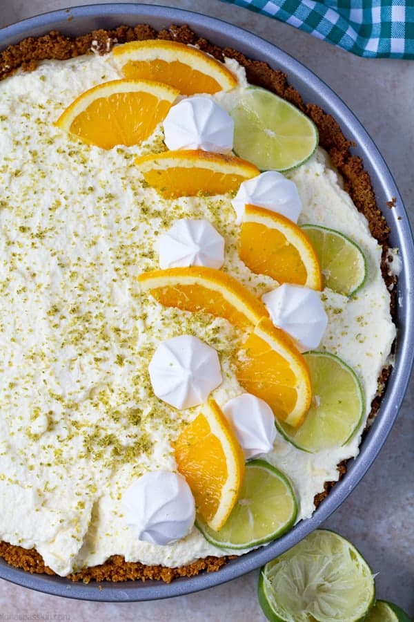 Lime flavored pie with orange whipped cream.