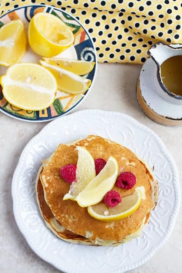 Pancake with lemon and raspberries.