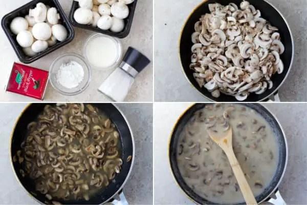 Sliced mushrooms in the pan.
