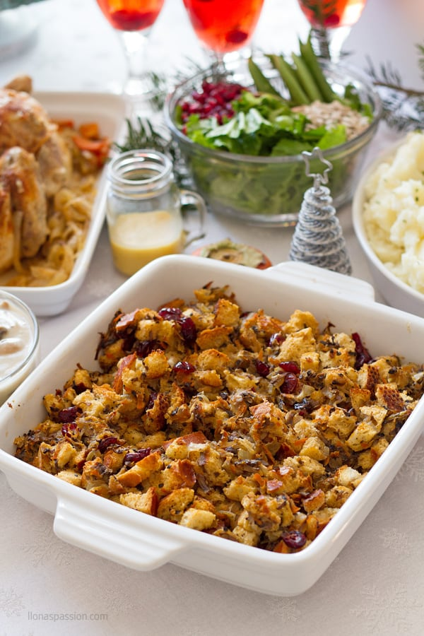 Christmas food menu with stuffing, salad and meat.