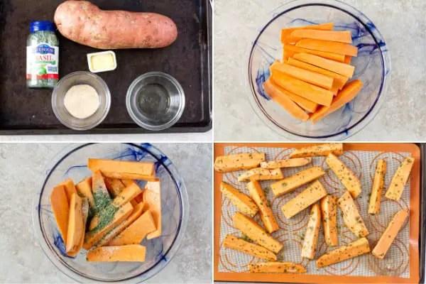 Sliced sweet potato with basil.
