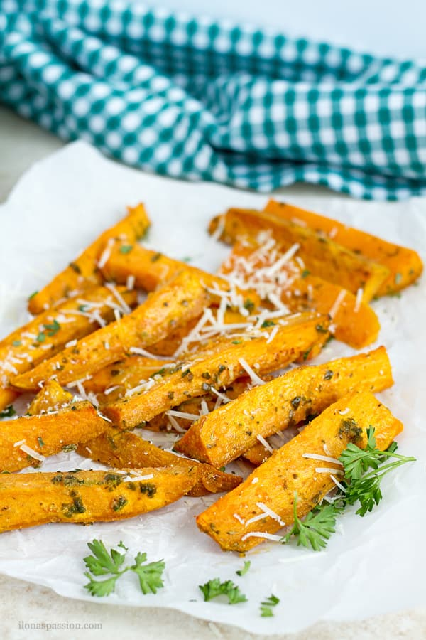 Sweet potato wedges with parmesan.