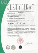 Certyfikat AQUAP 2110:2016