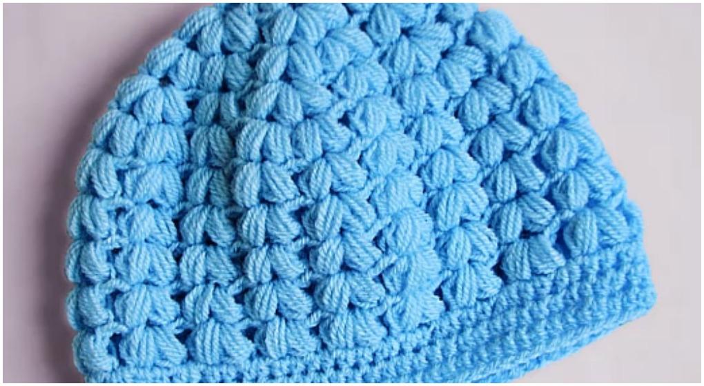 Crochet Puff Stitch Beanie Hat Free Pattern Video  ilovecrochet