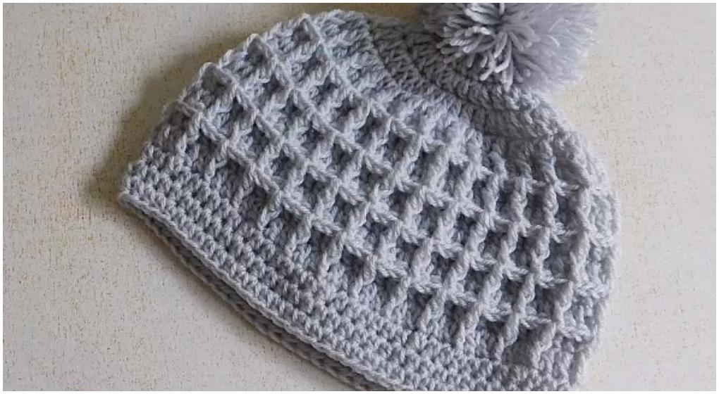 Crochet Beautiful Beanie Hat Waffle Stitch  ilovecrochet