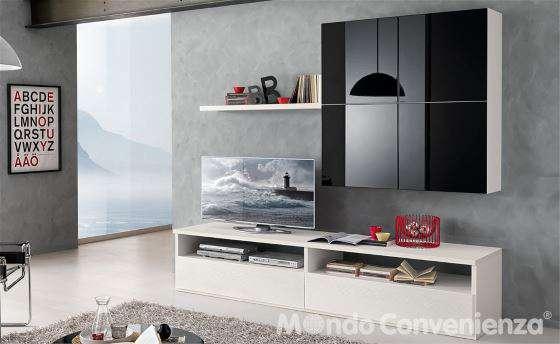 Mobile da soggiorno per TV fino a 55 pollici bianco e laccato nero  I Love Casa