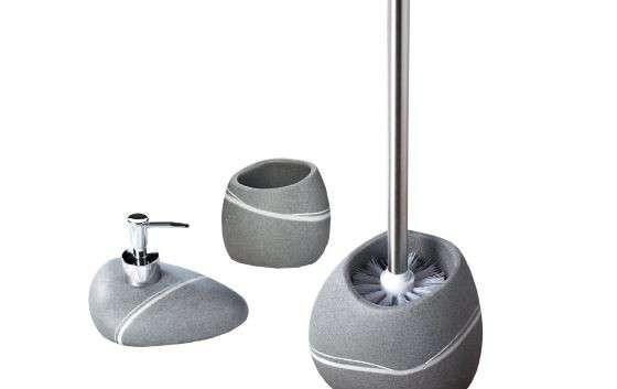 Set Accessori da bagno effetti pietra di colore grigio