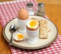 Soft boiled egg with toast soldiers.
