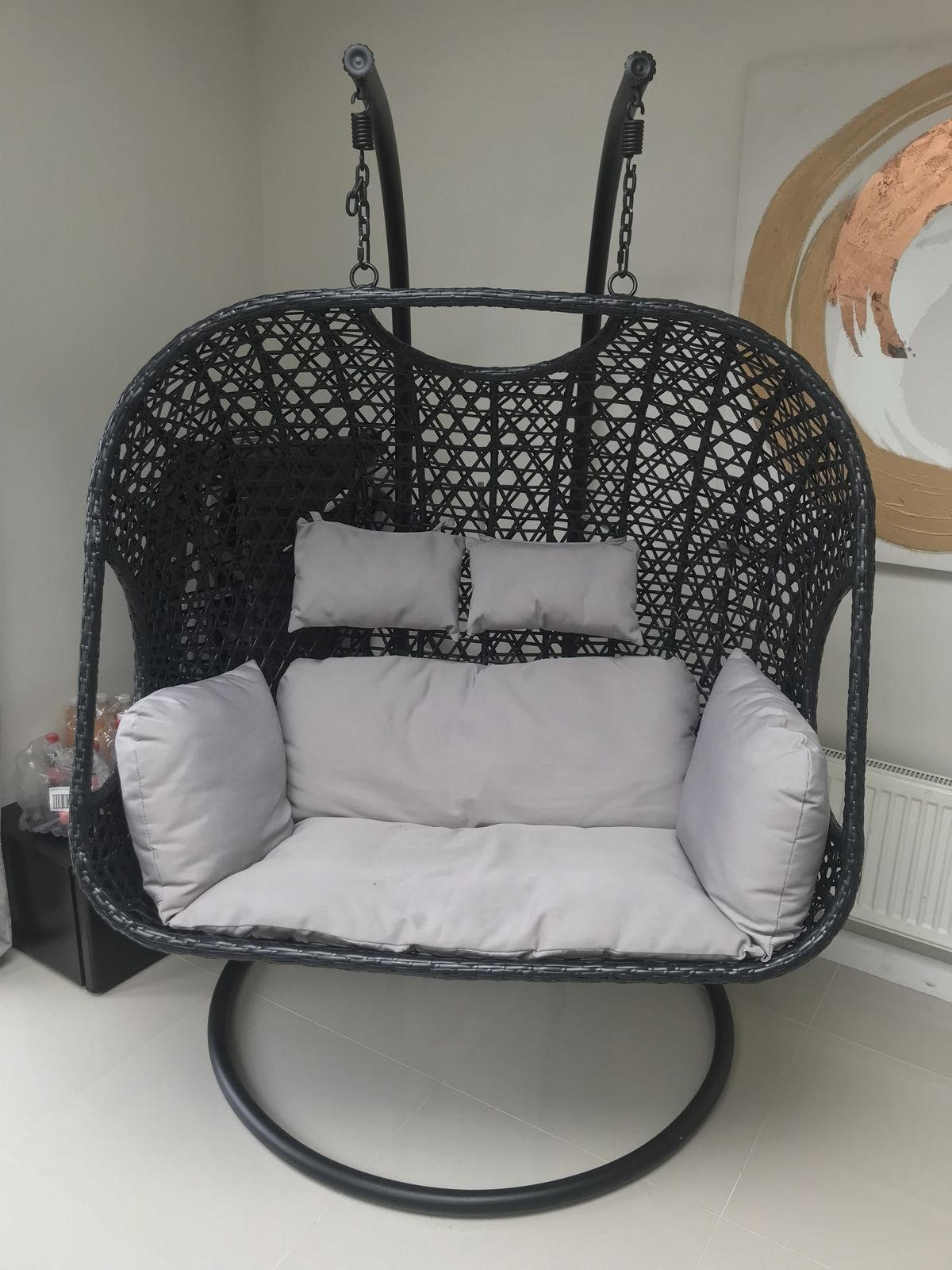 Egg Wicker Chair My Cms Cocoon Hanging Egg Chair Black White Cushion Rattan